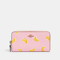 COACH 3115 Accordion Zip Wallet With Banana Print IM/PINK LEMONADE MULTI