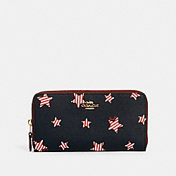 COACH 3116 - ACCORDION ZIP WALLET WITH AMERICANA STAR PRINT IM/NAVY/ RED MULTI