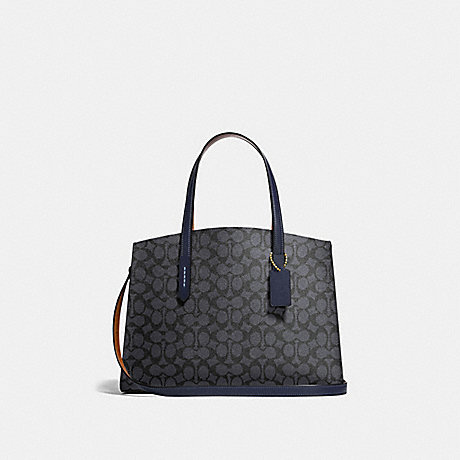 COACH 31210 CHARLIE CARRYALL IN SIGNATURE CANVAS CHARCOAL/MIDNIGHT-NAVY/LIGHT-GOLD