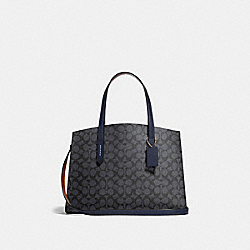 COACH 31210 - CHARLIE CARRYALL IN SIGNATURE CANVAS CHARCOAL/MIDNIGHT NAVY/LIGHT GOLD