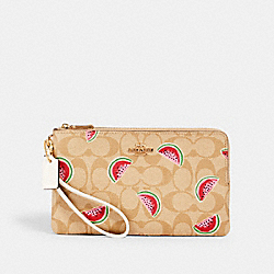 DOUBLE ZIP WALLLET IN SIGNATURE CANVAS WITH WATERMELON PRINT - 3121 - IM/LT KHAKI/RED MULTI