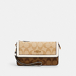 FOLDOVER WRISTLET IN SIGNATURE CANVAS - 3133 - IM/KHAKI/ LIGHT KHAKI/ CHALK
