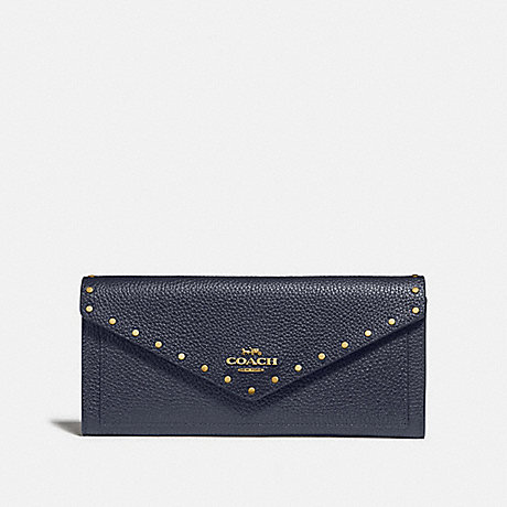 COACH SOFT WALLET WITH RIVETS - B4/MIDNIGHT NAVY - 31426