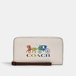 COACH 3147 - LARGE PHONE WALLET WITH RAINBOW HORSE AND CARRIAGE IM/CHALK MULTI