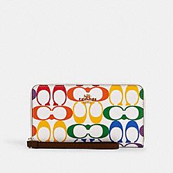 COACH 3148 - LARGE PHONE WALLET WITH RAINBOW SIGNATURE CANVAS IM/CHALK MULTI