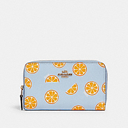 MEDIUM ZIP AROUND WALLET WITH ORANGE PRINT - 3151 - IM/ORANGE/BLUE