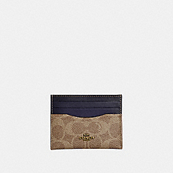 COACH 31541 Card Case In Colorblock Signature Canvas TAN/INK/BRASS