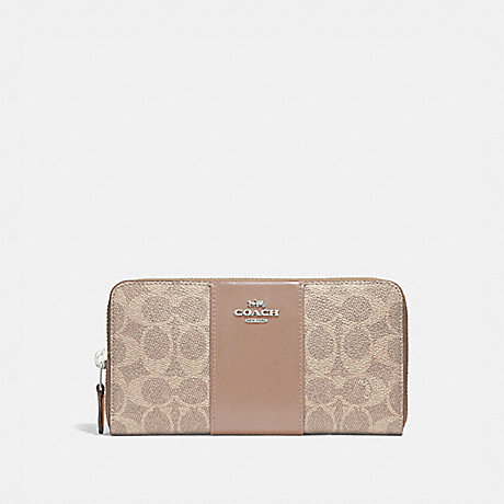 COACH 31546 ACCORDION ZIP WALLET IN COLORBLOCK SIGNATURE CANVAS LH/SAND-TAUPE