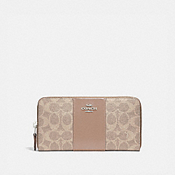 ACCORDION ZIP WALLET IN COLORBLOCK SIGNATURE CANVAS - 31546 - LH/SAND TAUPE