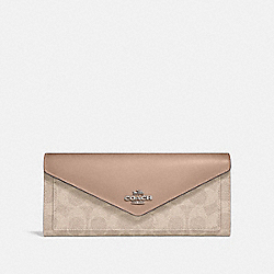 SOFT WALLET IN COLORBLOCK SIGNATURE CANVAS - 31547 - LH/SAND TAUPE