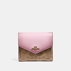 SMALL WALLET IN COLORBLOCK SIGNATURE CANVAS - 31548 - TAN/BLOSSOM/BRASS