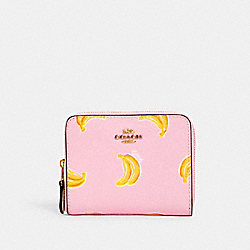 COACH 3154 - SMALL ZIP AROUND WALLET WITH BANANA PRINT IM/PINK LEMONADE MULTI