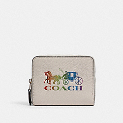 SMALL ZIP AROUND WALLET WITH RAINBOW HORSE AND CARRIAGE - 3155 - IM/CHALK MULTI