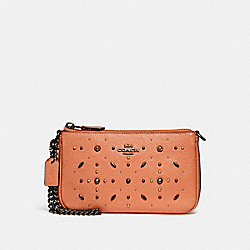COACH 31596 - NOLITA WRISTLET 19 WITH PRAIRIE RIVETS DARK BLUSH/DARK GUNMETAL