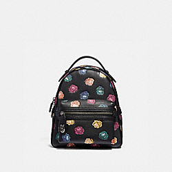 COACH 31630 - CAMPUS BACKPACK 23 WITH RAINBOW ROSE PRINT BLACK MULTI/DARK GUNMETAL