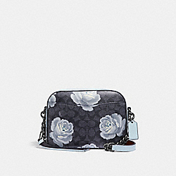 COACH 31695 Camera Bag In Signature Rose Print DK/CHARCOAL SKY