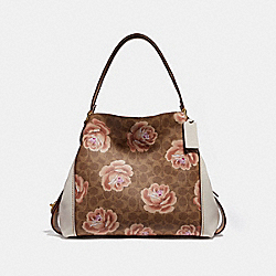 COACH 31699 Edie Shoulder Bag 31 In Signature Rose Print B4/TAN CHALK