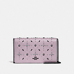 COACH 31731 Callie Foldover Chain Clutch With Prairie Rivets BLACK COPPER/ICE PURPLE