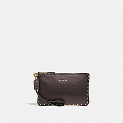 COACH 31794 Small Wristlet With Rivets OXBLOOD/BRASS