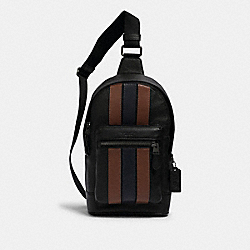 COACH 3180 - WEST PACK WITH VARSITY STRIPE QB/BLACK SADDLE/MIDNIGHT
