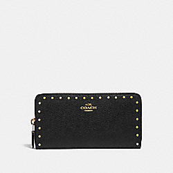 COACH 31810 Accordion Zip Wallet With Rivets B4/BLACK
