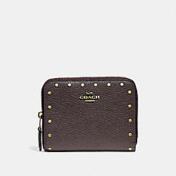 SMALL ZIP AROUND WALLET WITH RIVETS - 31811 - BRASS/OXBLOOD