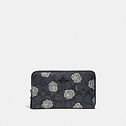 COACH 31816 - MEDIUM ZIP AROUND WALLET IN SIGNATURE ROSE PRINT DK/CHARCOAL SKY