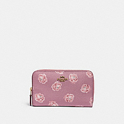 MEDIUM ZIP AROUND WALLET WITH ROSE PRINT - 31818 - B4/ROSE ROSE PRINT