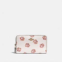 COACH 31818 Medium Zip Around Wallet With Rose Print CHALK ROSE PRINT/LIGHT GOLD