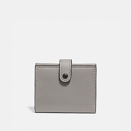 COACH SMALL TRIFOLD WALLET WITH ROSE PRINT INTERIOR - HEATHER GREY/BLACK COPPER - 31820
