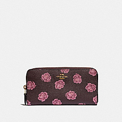 COACH 31823 - ACCORDION ZIP WALLET WITH ROSE PRINT GD/OXBLOOD ROSE PRINT