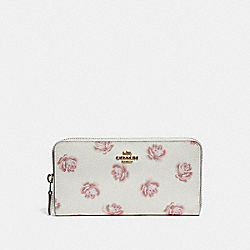 ACCORDION ZIP WALLET WITH ROSE PRINT - CHALK ROSE PRINT/LIGHT GOLD - COACH 31823
