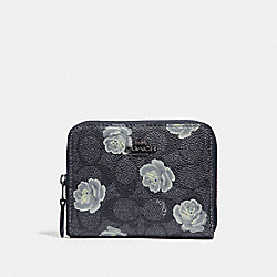 COACH 31825 Small Zip Around Wallet In Signature Rose Print DK/CHARCOAL SKY
