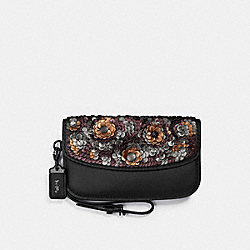 COACH 31833 - CLUTCH WITH LEATHER SEQUIN BLACK/BLACK COPPER