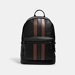 COACH 3184 - WEST BACKPACK WITH PIECED VARSITY STRIPE QB/BLACK SADDLE/MIDNIGHT