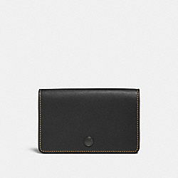 COACH 31865 - FOLDOVER CARD CASE BLACK/BLACK COPPER