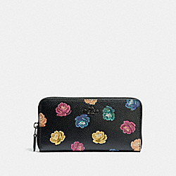 COACH 31927 - ACCORDION ZIP WALLET WITH RAINBOW ROSE PRINT RAINBOW ROSE PRINT/DARK GUNMETAL