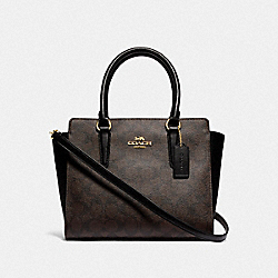 LEAH SATCHEL IN SIGNATURE CANVAS - 31957 - IM/BROWN BLACK