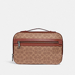 COACH 32176 Academy Travel Case In Signature Canvas KHAKI