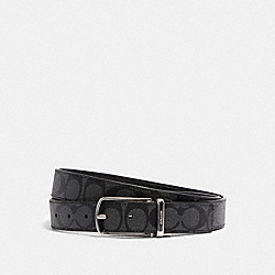 COACH 321 - SKINNY BUCKLE CUT-TO-SIZE REVERSIBLE DRESS BELT, 32MM SV/CHARCOAL BLACK