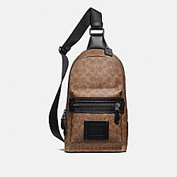 COACH 32217 Academy Pack In Signature Canvas KHAKI/BLACK COPPER