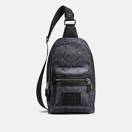 COACH 32217 ACADEMY PACK IN SIGNATURE CANVAS CHARCOAL/BLACK ANTIQUE NICKEL