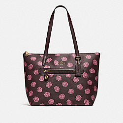 COACH 32310 Taylor Tote With Rose Print GD/OXBLOOD