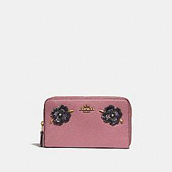 COACH 32434 Medium Zip Around Wallet With Leather Sequin Applique ROSE/BRASS