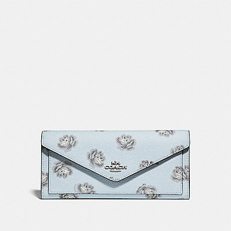 COACH SOFT WALLET WITH ROSE PRINT - SKY ROSE PRINT/SILVER - 32437