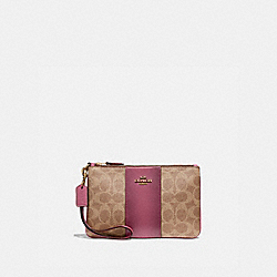 BOXED SMALL WRISTLET IN COLORBLOCK SIGNATURE CANVAS - B4/TAN DUSTY PINK - COACH 32445B