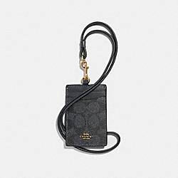 COACH 32475 Id Lanyard In Colorblock Signature Canvas CHARCOAL/MIDNIGHT NAVY/LIGHT GOLD