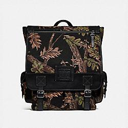COACH 32573 Scout Backpack With Oak Leaf Print BLACK/BLACK COPPER FINISH