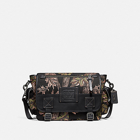 COACH 32578 SCOUT MESSENGER WITH OAK LEAF PRINT BLACK/BLACK COPPER FINISH