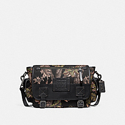COACH 32578 - SCOUT MESSENGER WITH OAK LEAF PRINT BLACK/BLACK COPPER FINISH
